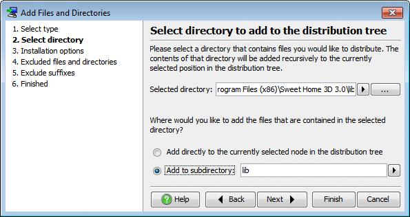 تحزيم تطبيقات الجافا الرسومية و إنشاء ملف تنصيب setup باستخدام install4j AddFilesAndDirectoriesSelectDirectory