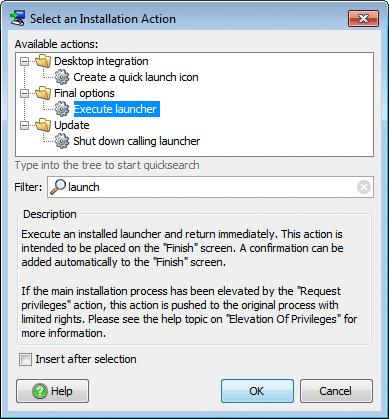 تحزيم تطبيقات الجافا الرسومية و إنشاء ملف تنصيب setup باستخدام install4j ExecuteLauncherAction
