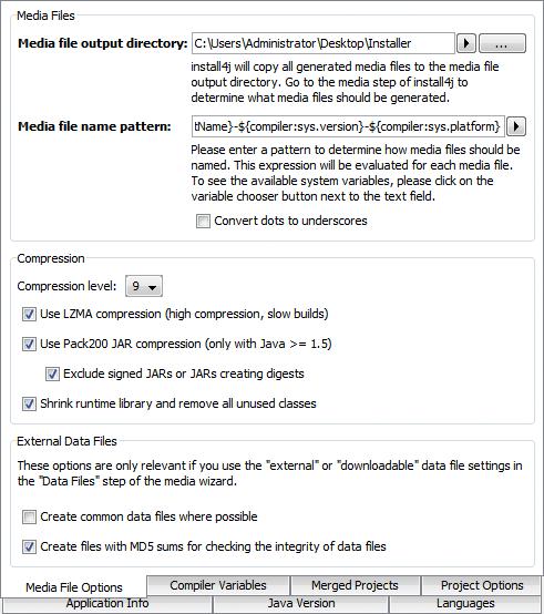 تحزيم تطبيقات الجافا الرسومية و إنشاء ملف تنصيب setup باستخدام install4j GeneralSettingsMediaFileOptions