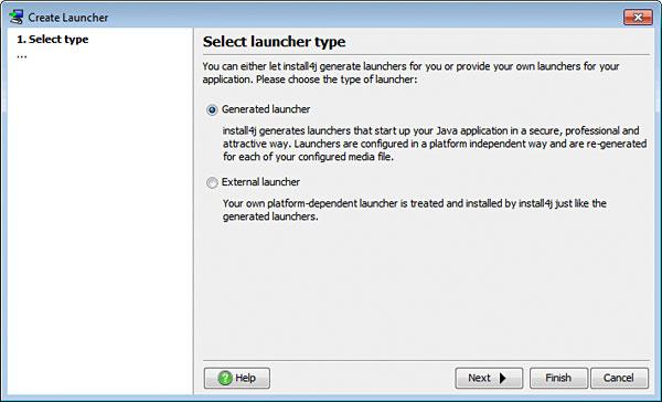 تحزيم تطبيقات الجافا الرسومية و إنشاء ملف تنصيب setup باستخدام install4j LauncherSelectType